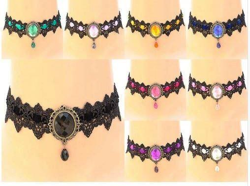Handmade Black Lace Gothic Amethyst NecklaceChoker