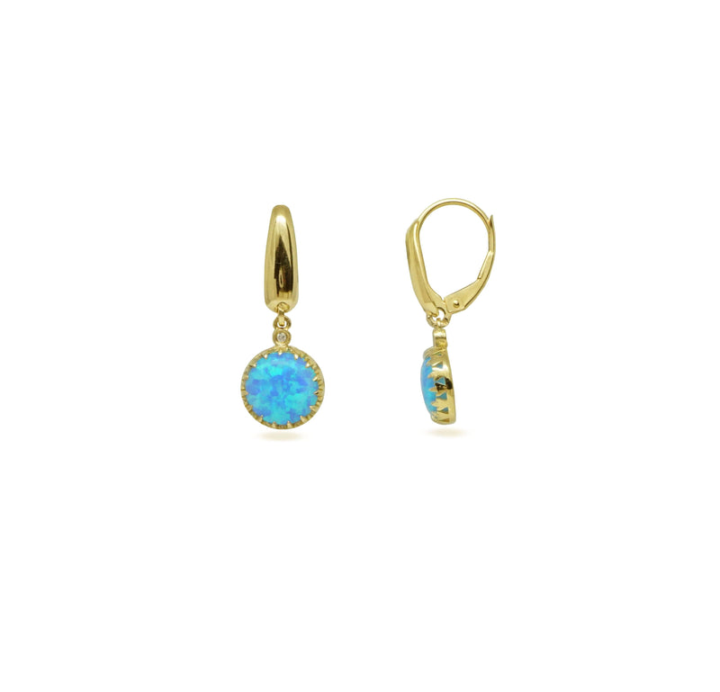 Blue Opal and Diamond Stud Earrings Set in 14K Solid Gold - atperry's healing crystals