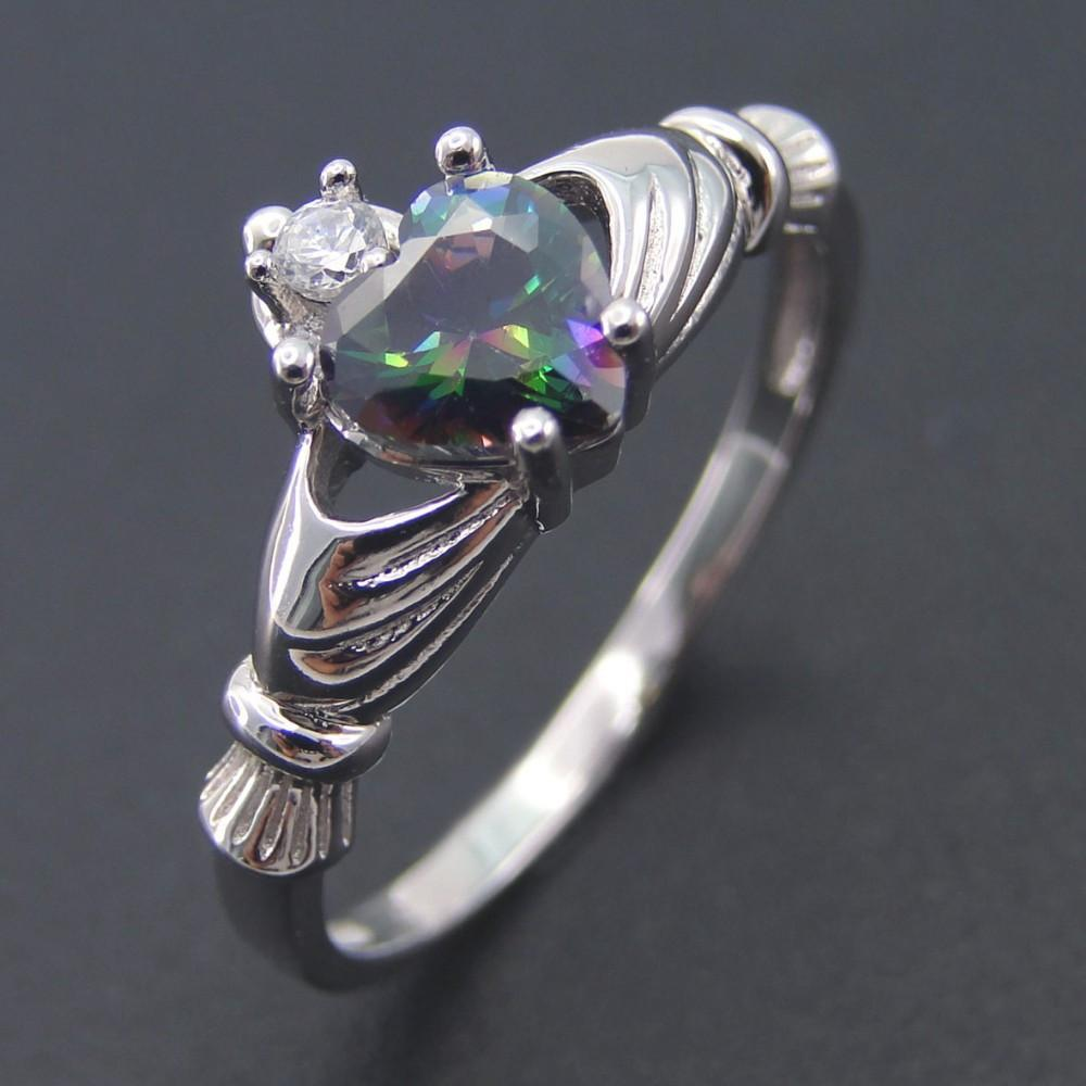 Mystic Topaz Heart Silver Ring