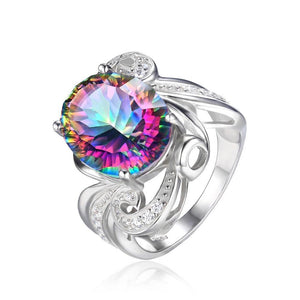 Luxury Genuine Mystic Topaz Ring - 925 Sterling Silver - AtPerry's Healing Crystals™