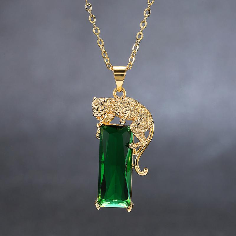 Metallic Emerald Leopard Crystal NecklacePendant / Necklace