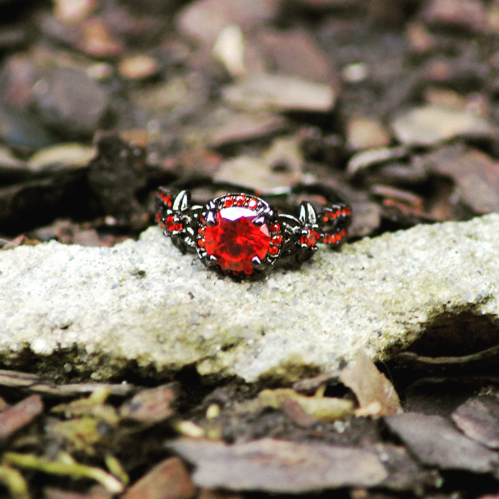 Flower Ruby Black Gold Ring   matans store.myshopify.com