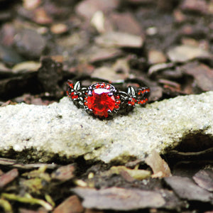 Flower Ruby Black Gold Ring - atperry's healing crystals