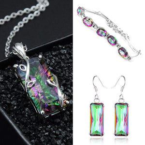 Rainbow Mystic Topaz Set - Pendant, Earrings and Bracelet - AtPerry's Healing Crystals™
