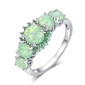 Green Fire Opal & Emerald Ring