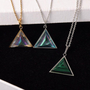 Aquamarine, Malachite And Clear Quartz Triangle Amulet Necklace