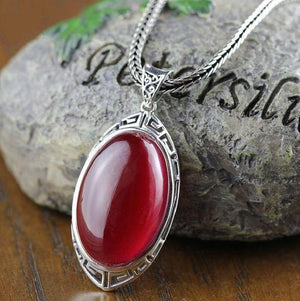 Big Ruby Vintage Pendant - 925 Sterling Silver