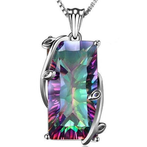Rainbow Mystic Topaz Pendant Necklace - 925 Sterling Silver - atperry's healing crystals