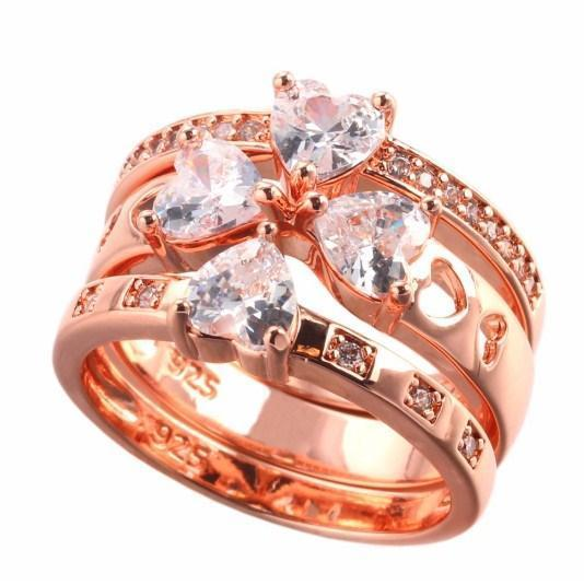 Unique Rose Gold Plated & White Gold Ring - AtPerry's Healing Crystals™