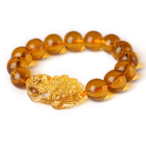 Feng Shui Citrine Yellow Crystal Pi Yao Pi Xiu Xie Bracelet For WealthBracelet