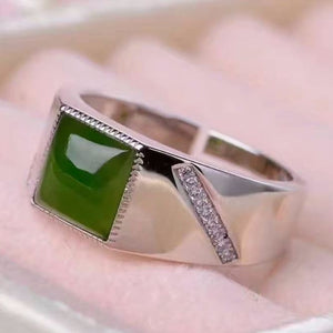 Natural Stylish Jade Ring - 925 Sterling Silver - atperry's healing crystals