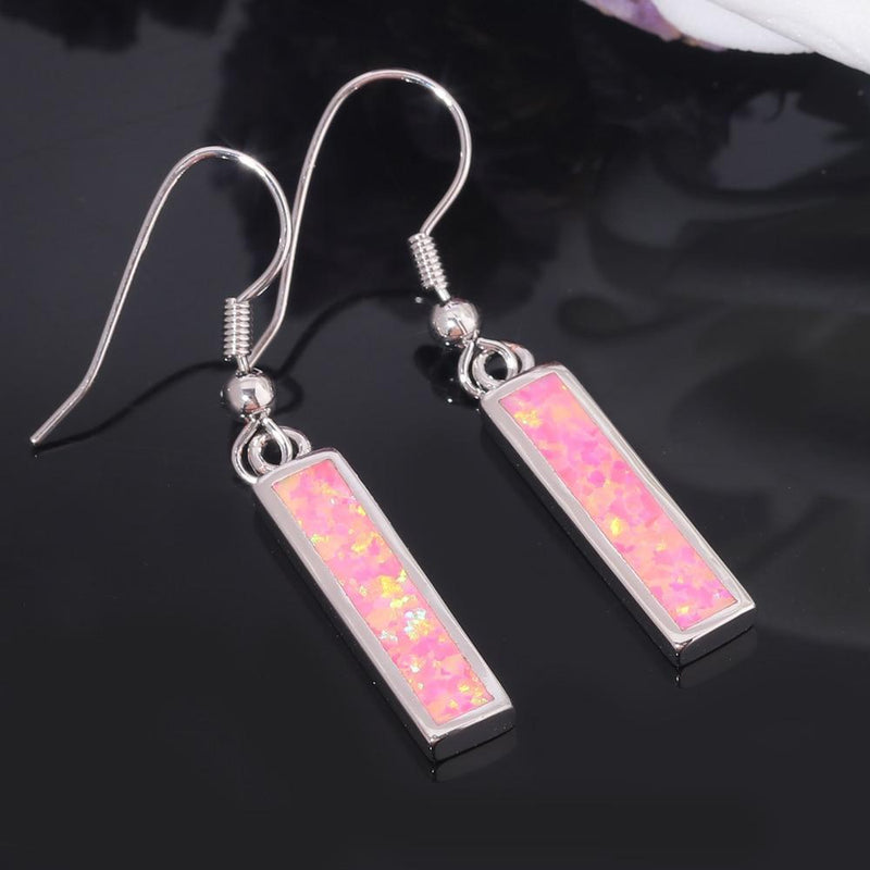Pink Fire Opal Rectangular Dangle EarringsEarrings