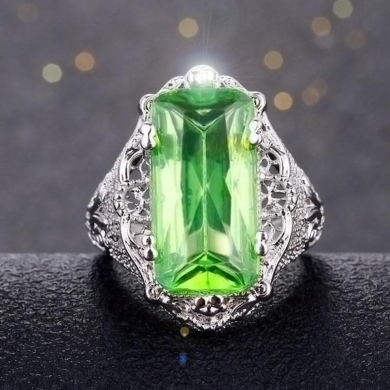 Rectangular Green Morganite RingRing