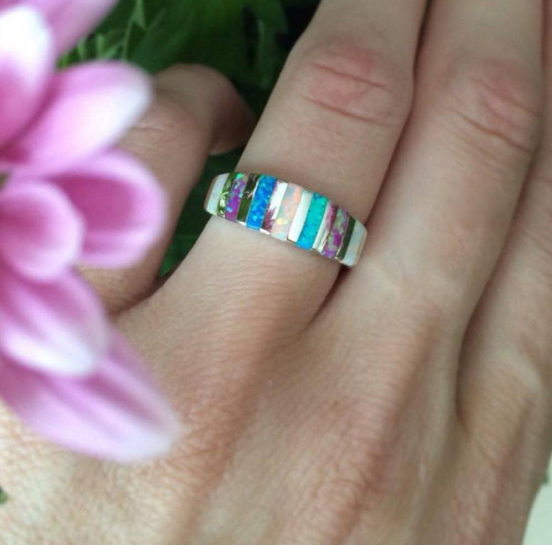 Blue & White Fire Opal Silver RingRing