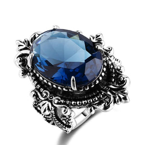 Blue Sapphire Peacock Vintage RingRing6