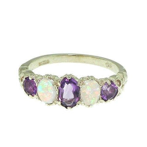 Amethyst and Opal Sterling Silver Ring (FOR USA ONLY) - atperry's healing crystals