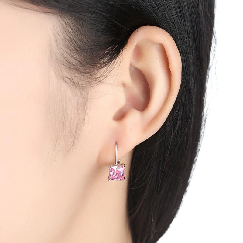 Chic Black & Pink Onyx Stone Drop EarringsEarrings