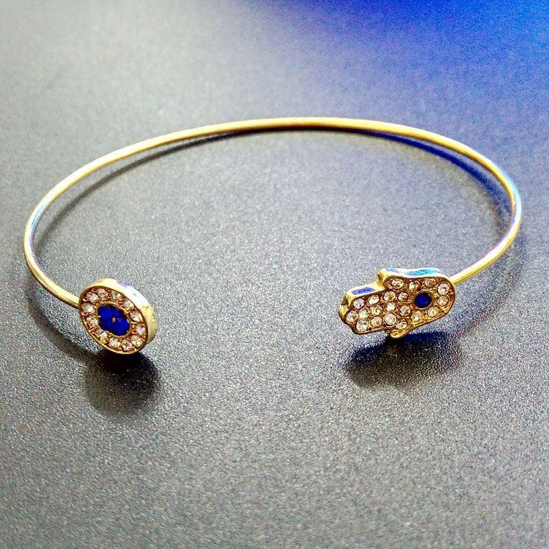 Hamsa Turkey Blue Evil Eye Bangle   Silver Gold Plated   AtPerrys Healing Crystals   7