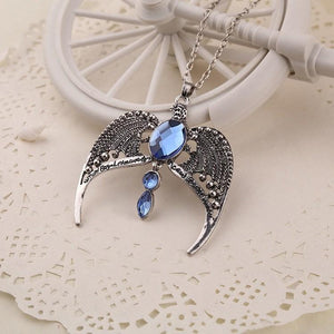 Big Sapphire Stone Eagle Wings Necklace - atperry's healing crystals