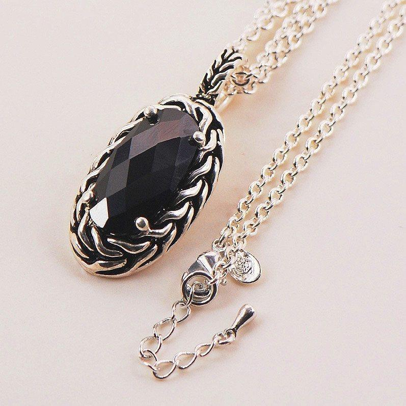 Black Onyx Pendant With 925 Sterling Silver Chain - AtPerrys Healing Crystals - 1