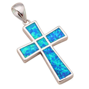 Blue Fire Opal Silver Stamped Pendant Necklace   AtPerrys Healing Crystals   1