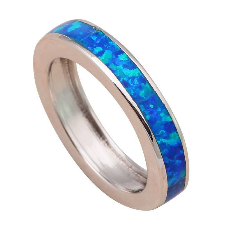Blue Fire Opal Silver Stamped Ring   AtPerrys Healing Crystals   1