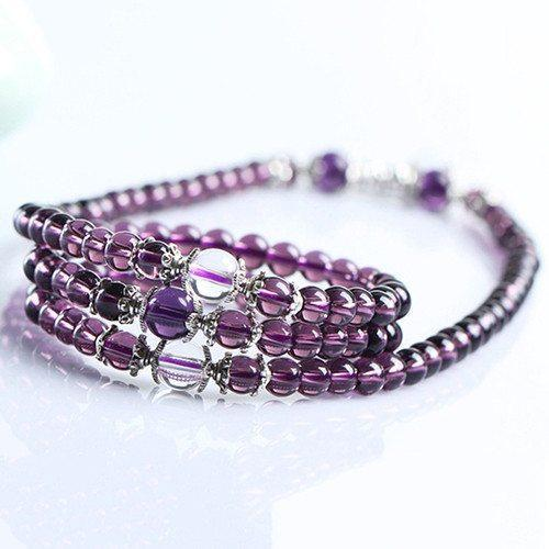 Amethyst Buddhist Bracelet/Necklace - 108 Prayer Beads - AtPerrys Healing Crystals - 1