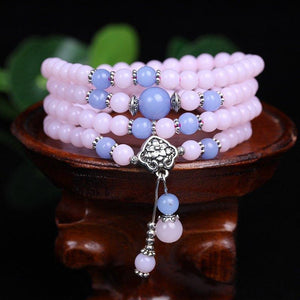 Chalcedony Beads Tibetan Buddhist 108 Prayer Beads Bracelet - atperry's healing crystals