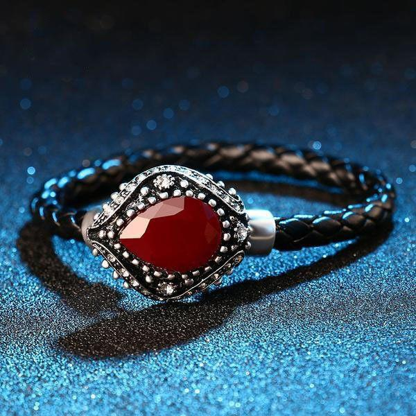 Ruby Handmade Woven Bracelet (Braided Leather)   AtPerrys Healing Crystals   1