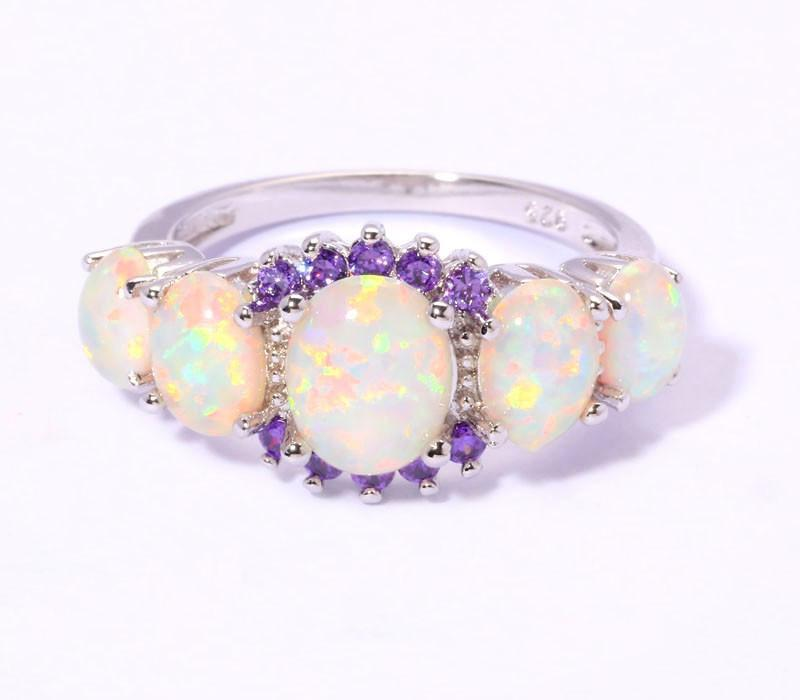White Fire Opal Amethyst Silver RingRing