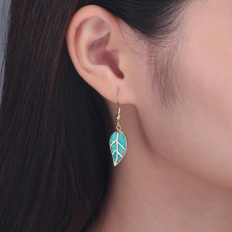 Leaf Fire Opal Stone Dangle EarringsEarrings
