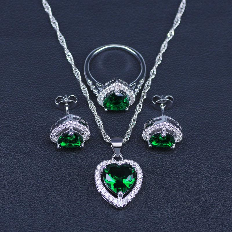 Heart Emerald Jewelry SetNecklace