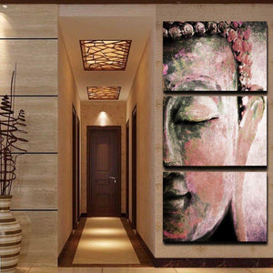 3 Panel Wall Art Buddha Oil Style Painting On Canvas (Unframed)Can40x30cmx3Red