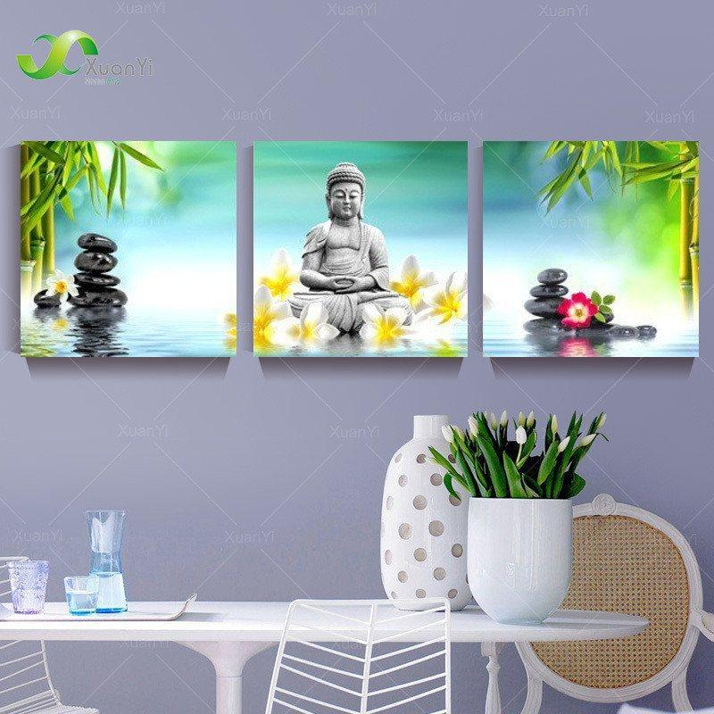 3 Panel Abstract Buddha Oil Painting (Unframed)   AtPerrys Healing Crystals   1