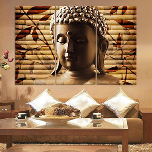 3 Panel Buddha Wall Canvas (Unframed) - atperry's healing crystals