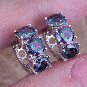 Captivating Rainbow Mystic Topaz 925 Sterling Silver Huggie Hoop Earrings - atperry's healing crystals