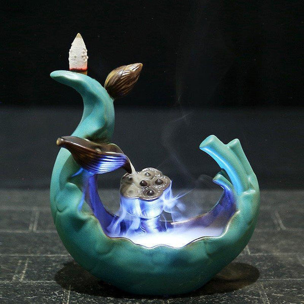 Led Incense Burner Variable Glaze Backflow   AtPerrys Healing Crystals   1