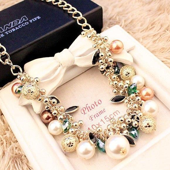 Colored Gem Pearl Choker Necklace