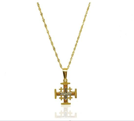 Cross Necklace Set in 14K Silver Gold Plated - atperry's healing crystals