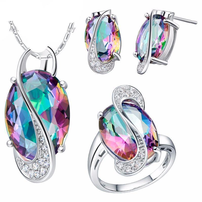 Crystal 925 Sterling Silver Mystic Topaz Set   AtPerrys Healing Crystals   1