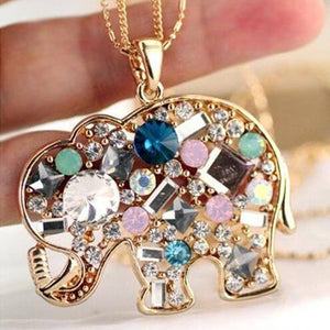 Crystal Rhinestone Colorful Elephant Necklace   AtPerrys Healing Crystals   1