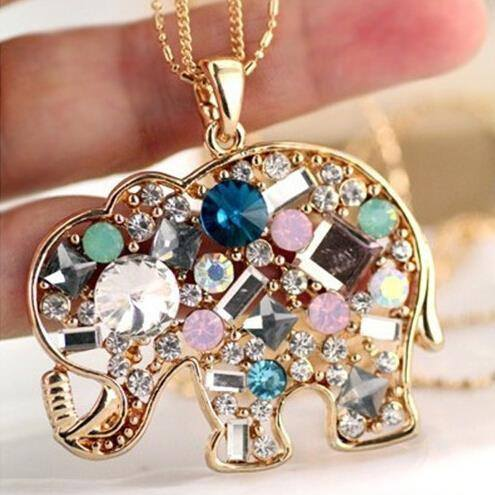 Crystal Rhinestone Colorful Elephant NecklaceNecklace