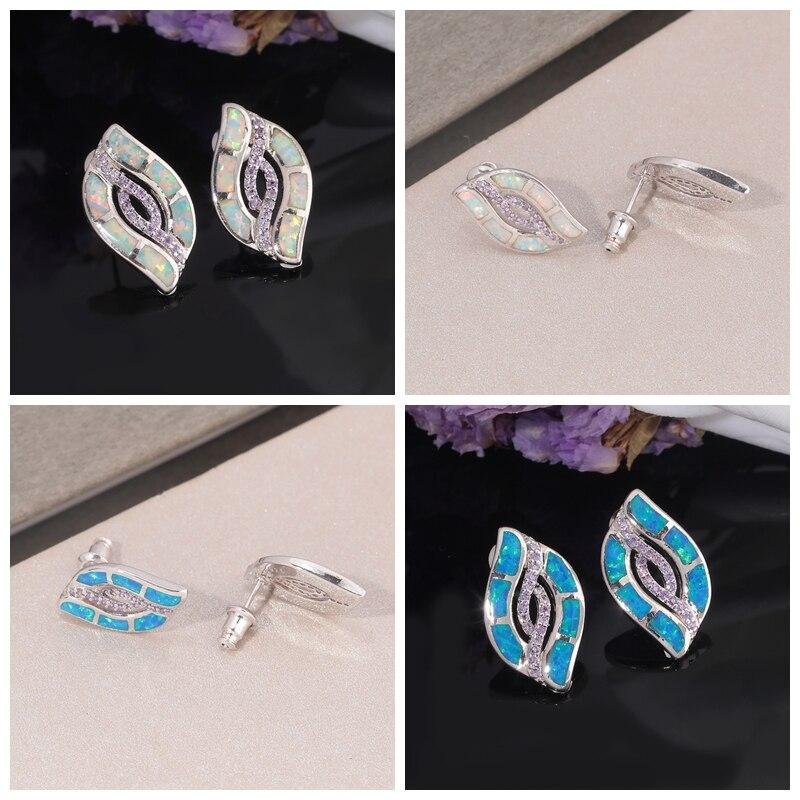 White & Blue Fire Opal Stud Earrings