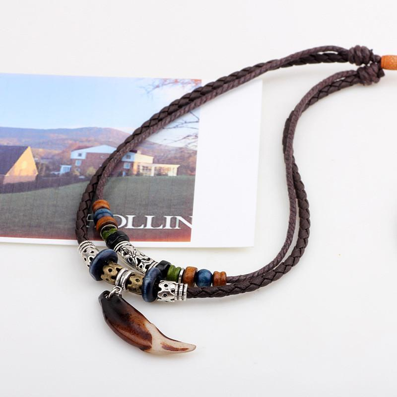 Vintage Tribal Bohemian Wolf Tooth Pendant With Braided Leather Rope Multi Layer Tibetan Beads NecklaceNecklace