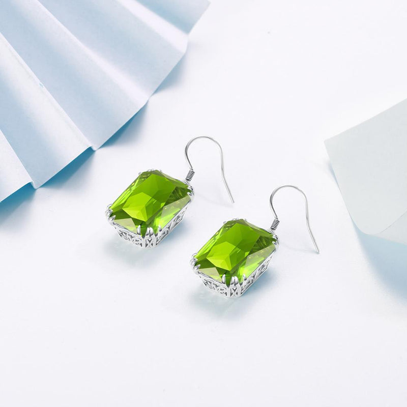 Natural Peridot Long 925 Sterling Silver EarringsEarrings