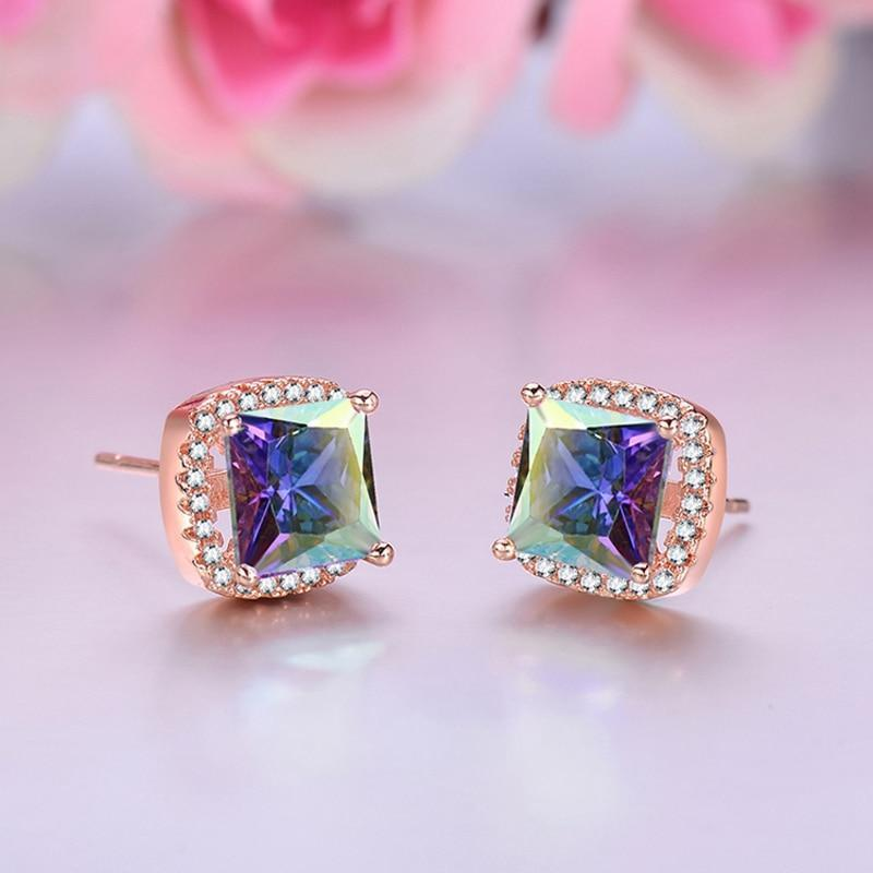 Mystic Jewelry Rose Gold Color Square Stud EarringsEarrings