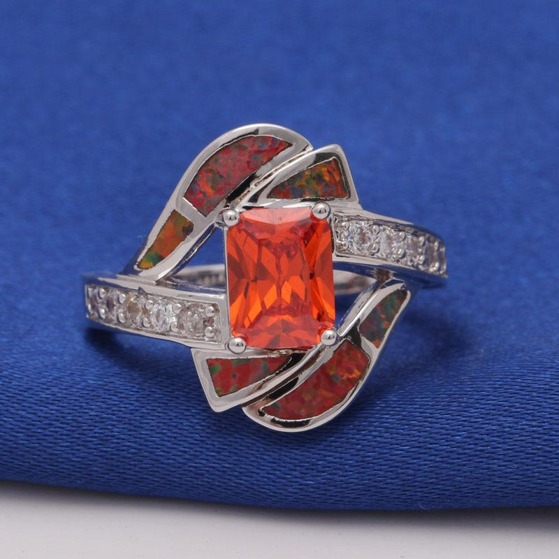 Orange Fire Opal Diamonds RingRing