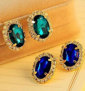 18 K Gold Plated Gorgeous Temperament Exquisite Full Crystal Rhinestone Gem Stud EarringsEarrings