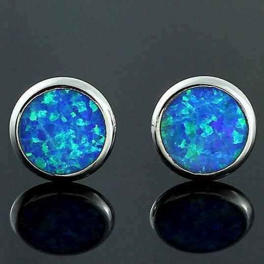Blue Fire Opal Silver Earrings - atperry's healing crystals