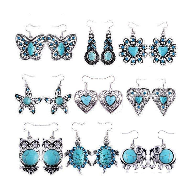 Bohemian Vintage Silver Plated Crystal Turquoise Earrings AtPerry